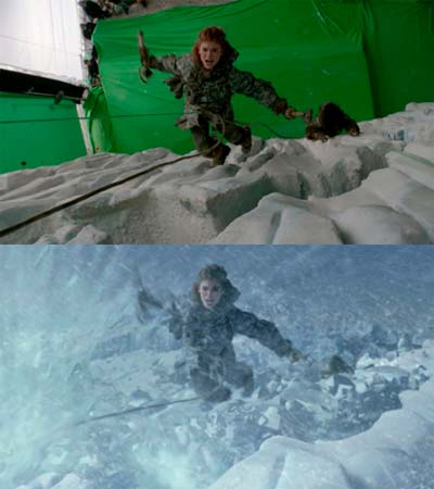 Una scena dalla serie tv Game of Thrones con ricostruzione ambientale grazie al green screen