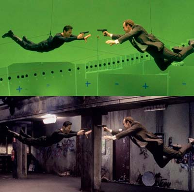 Una famosa scena del film The Matrix girata con fondale green screen
