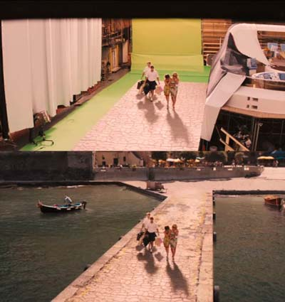 Una scena del film The Wolf of Wall Street girata con tecnica green screen