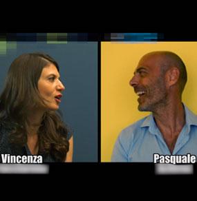 Immagine di intervista doppia classicamente divisa in due con una donna e un uomo a mezzo busto che si guardano, ognuno con uno sfondo colorato diverso