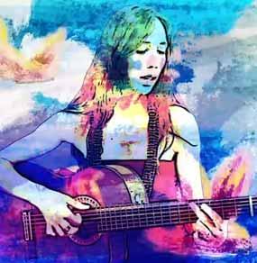Anna Vignozzi suona la chitarra in una immagine ricca di colori ed animazioni